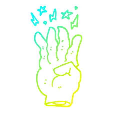 cold gradient line drawing of a cartoon spooky magic hand 일러스트