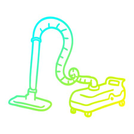 cold gradient line drawing of a cartoon vacuum hoover Ilustrace