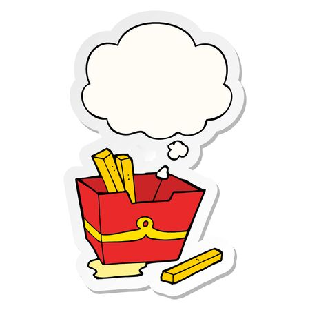 cartoon box of fries with thought bubble as a printed sticker Ilustração