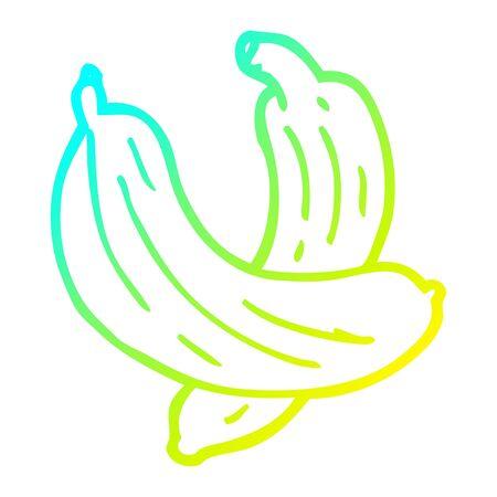 Kalte Farbverlaufslinie Zeichnung eines Cartoon-Paares Bananen