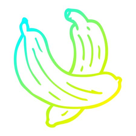 cold gradient line drawing of a cartoon pair of  bananas