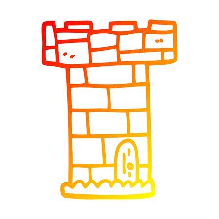 warm gradient line drawing of a cartoon castle tower