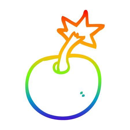 rainbow gradient line drawing of a round cartoon bomb