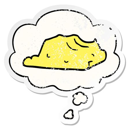 cartoon butter with thought bubble as a distressed worn sticker