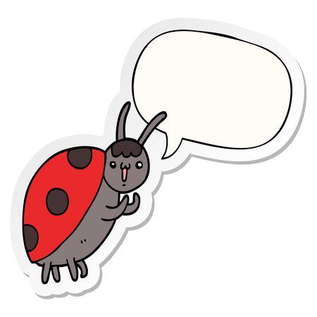 cute cartoon ladybug with speech bubble sticker 스톡 콘텐츠 - 128791459