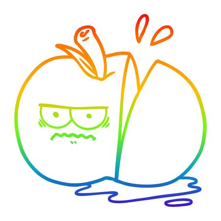 rainbow gradient line drawing of a cartoon angry sliced apple Иллюстрация