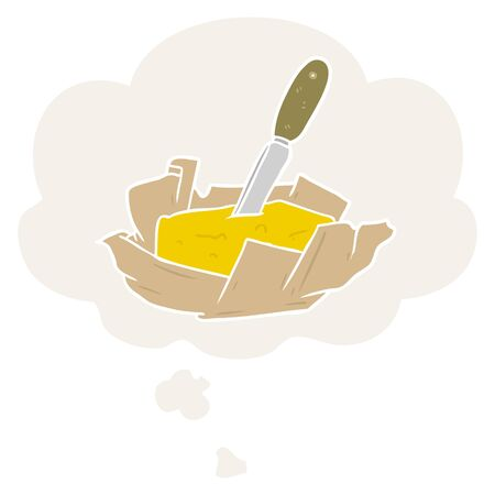 cartoon butter with thought bubble in retro style
