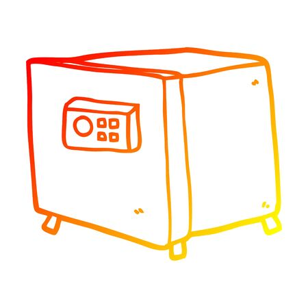 warm gradient line drawing of a cartoon safe Stock Illustratie