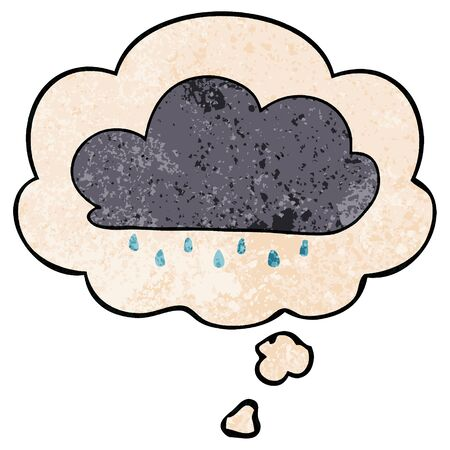 cartoon rain cloud with thought bubble in grunge texture style Stok Fotoğraf - 128790607
