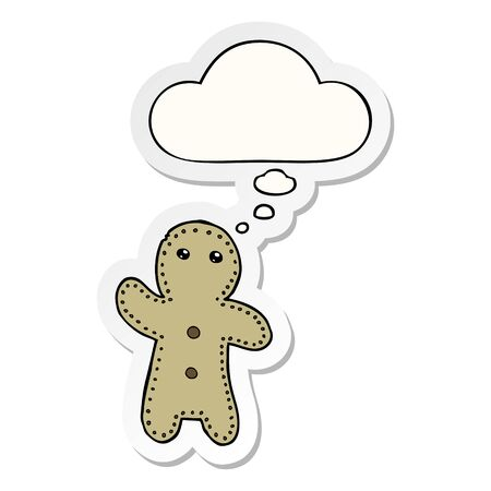 cartoon gingerbread man with thought bubble as a printed sticker Illusztráció