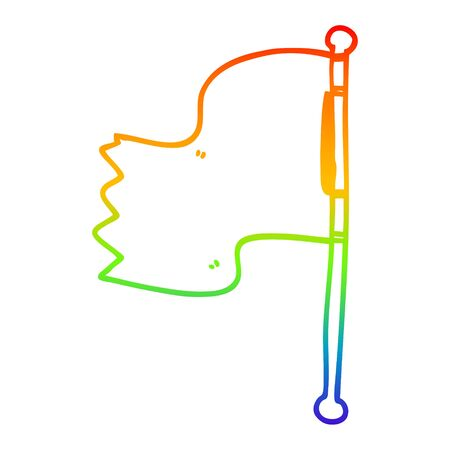 rainbow gradient line drawing of a cartoon waving flag Banque d'images - 128790159