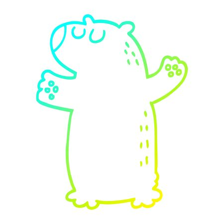 cold gradient line drawing of a cartoon bear standing