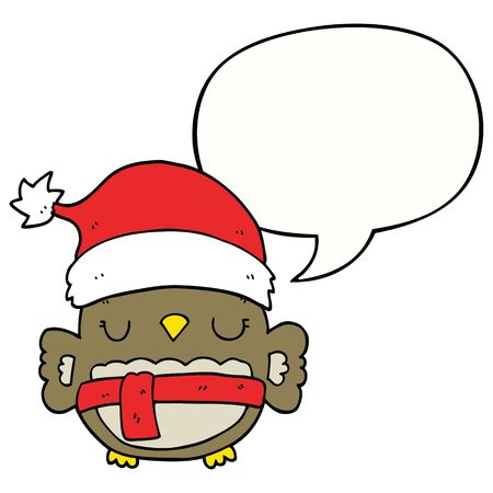 cute christmas owl with speech bubble