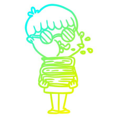 cold gradient line drawing of a cartoon boy wearing dark glasses carrying books