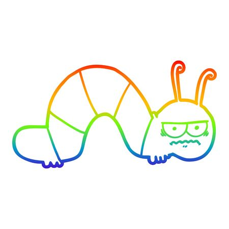 rainbow gradient line drawing of a cartoon grumpy caterpillar Ilustrace