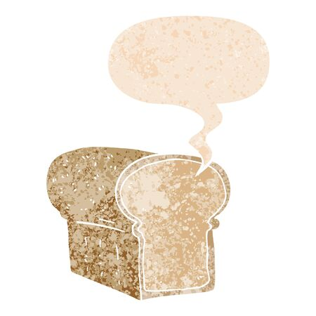 cartoon loaf of bread with speech bubble in grunge distressed retro textured style Ilustração