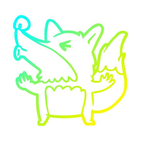 cold gradient line drawing of a halloween werewolf howling 向量圖像