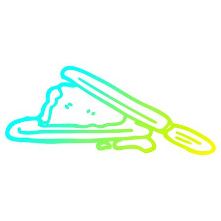 cold gradient line drawing of a cartoon butter and knife 스톡 콘텐츠 - 128822030