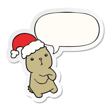 cartoon christmas bear worrying with speech bubble sticker Illustration