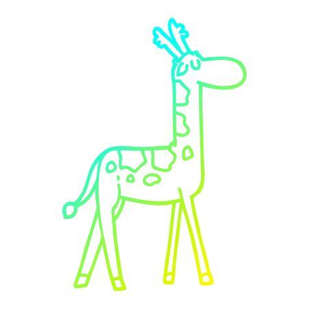 cold gradient line drawing of a cartoon funny giraffe Foto de archivo - 129013850