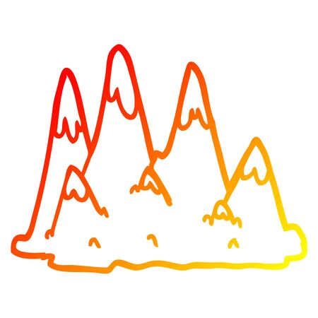 warm gradient line drawing of a cartoon mountains