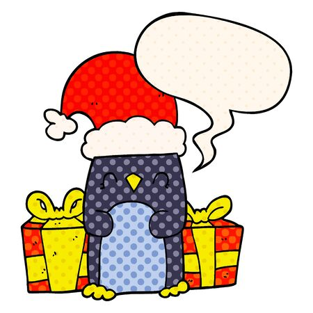 cute christmas penguin with speech bubble in comic book style