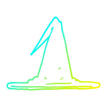 cold gradient line drawing of a cartoon witch hat Illustration