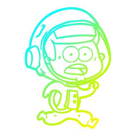cold gradient line drawing of a cartoon surprised astronaut