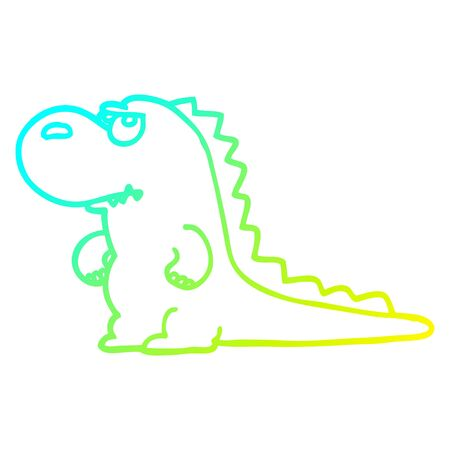 cold gradient line drawing of a cartoon annoyed dinosaur
