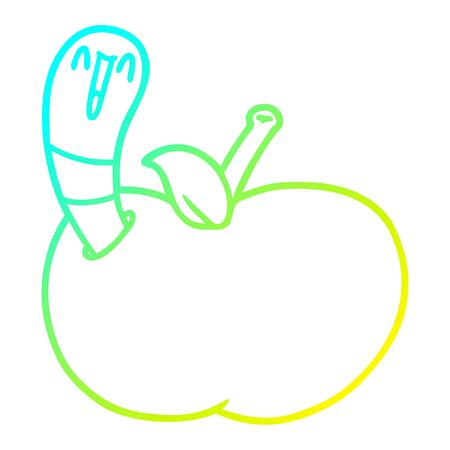 cold gradient line drawing of a cartoon worm in apple