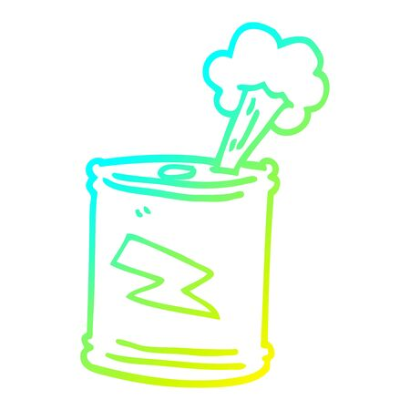 cold gradient line drawing of a cartoon fizzy drinks can  イラスト・ベクター素材