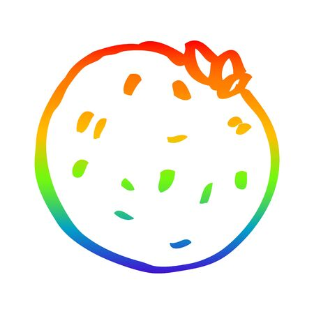 rainbow gradient line drawing of a cartoon grapefruit Stock Illustratie