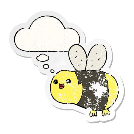 cartoon bee with thought bubble as a distressed worn sticker Vektoros illusztráció