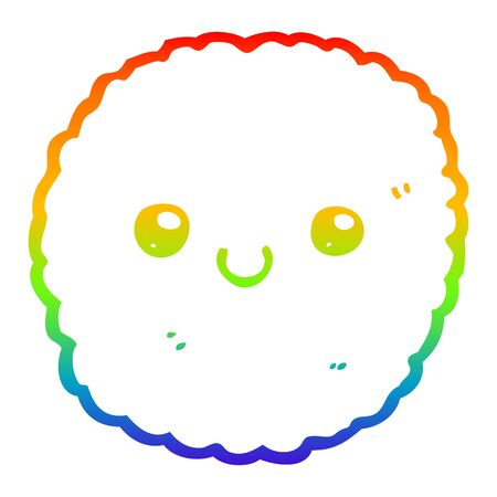 rainbow gradient line drawing of a cartoon biscuit 일러스트