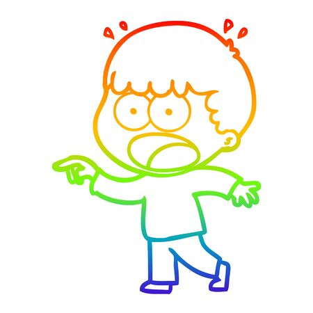 rainbow gradient line drawing of a cartoon shocked man pointing
