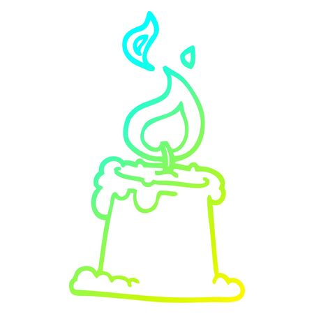 cold gradient line drawing of a cartoon lit candle