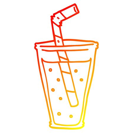 warm gradient line drawing of a cartoon fizzy drink