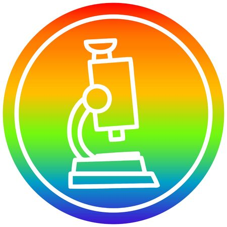 microscope and slide circular icon with rainbow gradient finish