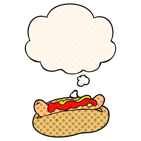 cartoon hotdog with thought bubble in comic book style Stock Illustratie