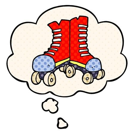 cartoon roller boots with thought bubble in comic book style Ilustracja