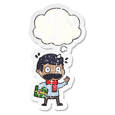 cartoon man with mustache and christmas present with thought bubble as a distressed worn sticker