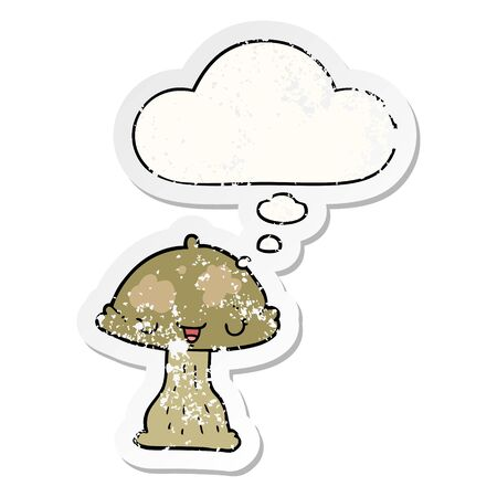 cartoon toadstool with thought bubble as a distressed worn sticker