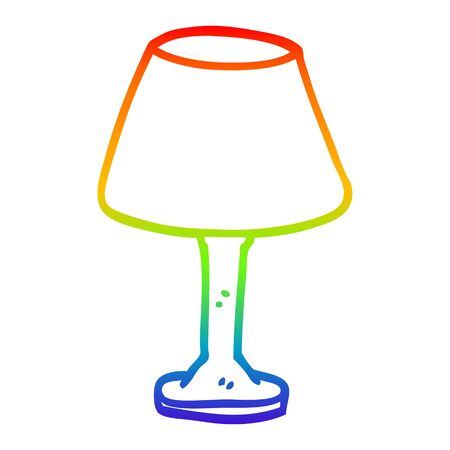 rainbow gradient line drawing of a cartoon desk lamp