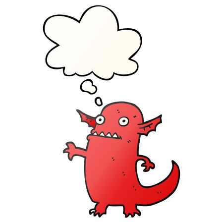 cartoon halloween monster with thought bubble in smooth gradient style  イラスト・ベクター素材