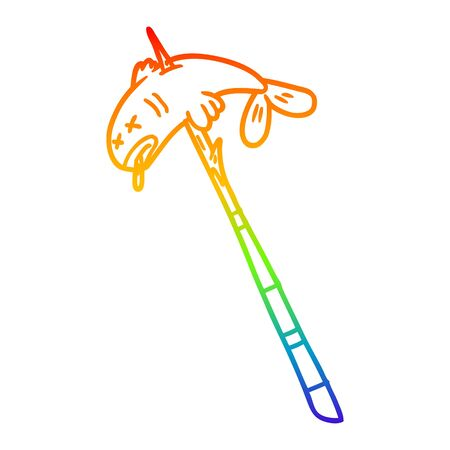 rainbow gradient line drawing of a cartoon fish speared