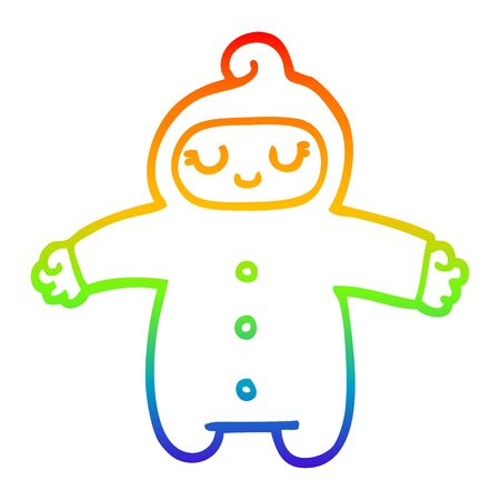 rainbow gradient line drawing of a cartoon baby