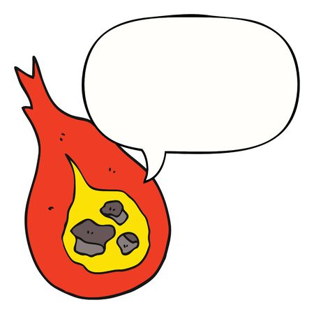 cartoon fireball with speech bubble
