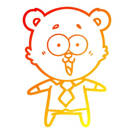 warm gradient line drawing of a laughing teddy  bear cartoon in shirt and tie Stock Illustratie