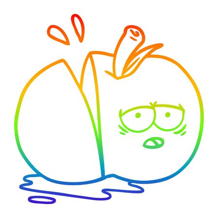 rainbow gradient line drawing of a cartoon sliced apple Иллюстрация
