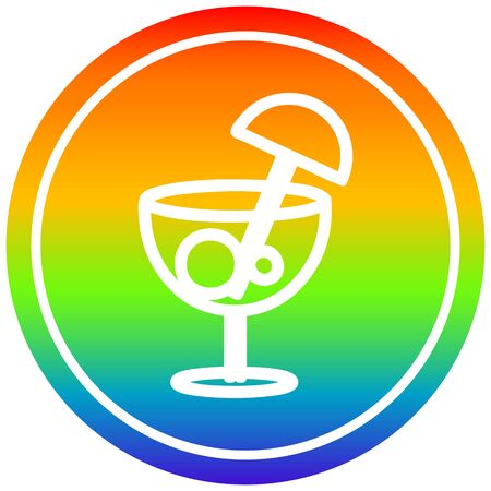 cocktail with umbrella circular icon with rainbow gradient finish